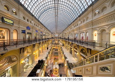 Moscow, Russia - February 27, 2017: Interior of GUM mall at Red Square at dusk time