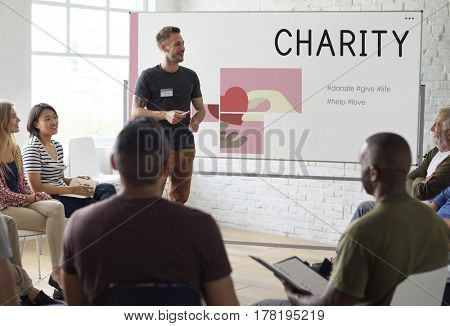 People Meeting Charity Issue Graphic