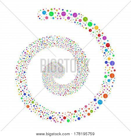 Clock fireworks whirlpool spiral. Vector illustration style is flat bright multicolored scattered symbols. Object whirl constructed from random symbols.