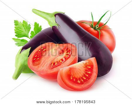 Isolated Eggplants
