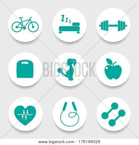 Set of 9 fitness icon in circle. Vector illustration