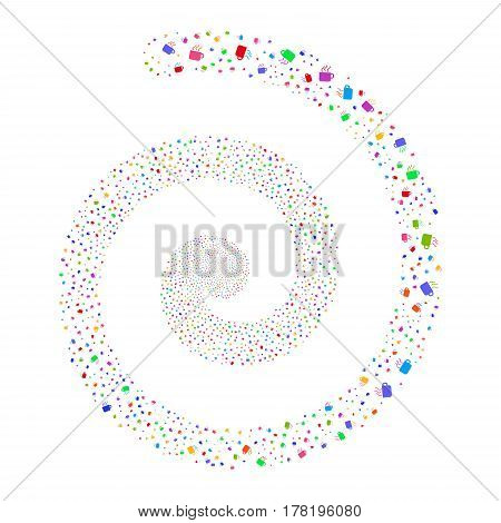 Coffee Cup fireworks vortex spiral. Vector illustration style is flat bright multicolored scattered symbols. Object swirl constructed from random design elements.