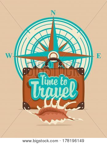 Vector banner with a suitcase seashell on a tourist theme against the backdrop of the compass Windrose the inscriptions time to travel