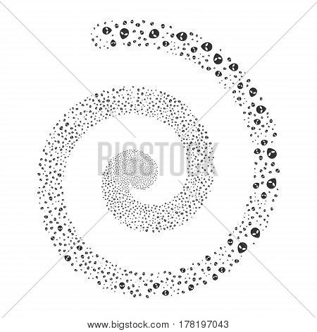 Alien Face fireworks swirling spiral. Vector illustration style is flat gray scattered symbols. Object whirl constructed from scattered pictographs.