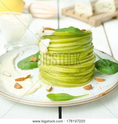 Waldorf salad on wooden table still life
