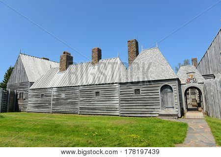 Port Royal National Historic Site in Port Royal, Nova Scotia, Canada. The original fort was built by France in 1605 as the first successful settlement in North America. The Habitation of Port Royal was designated as a National Historic Site of Canada in 1