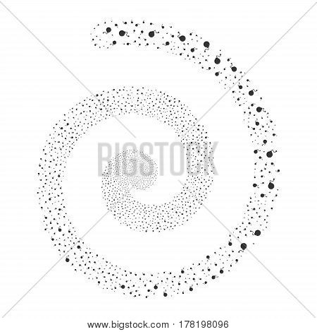 Bomb fireworks burst spiral. Vector illustration style is flat gray scattered symbols. Object whirl made from scattered design elements.