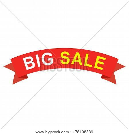 Big sale ribbon. Flat red paper ribbon with text for banner, flyer or web site. Illustration with red ribbon sticker.