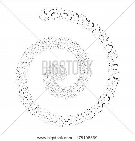 Call fireworks swirling spiral. Vector illustration style is flat gray scattered symbols. Object swirl organized from random symbols.