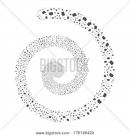 Camera fireworks swirling spiral. Vector illustration style is flat gray scattered symbols. Object twirl constructed from random symbols.