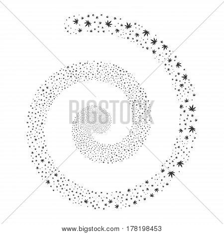 Cannabis fireworks whirl spiral. Vector illustration style is flat gray scattered symbols. Object burst constructed from random symbols.