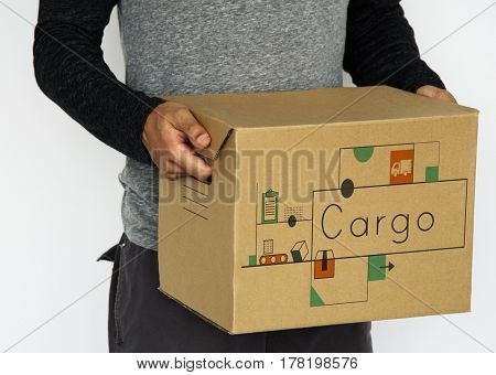 Hands holding network graphic overlay box