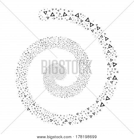 Caution fireworks whirlpool spiral. Vector illustration style is flat gray scattered symbols. Object helix done from scattered design elements.