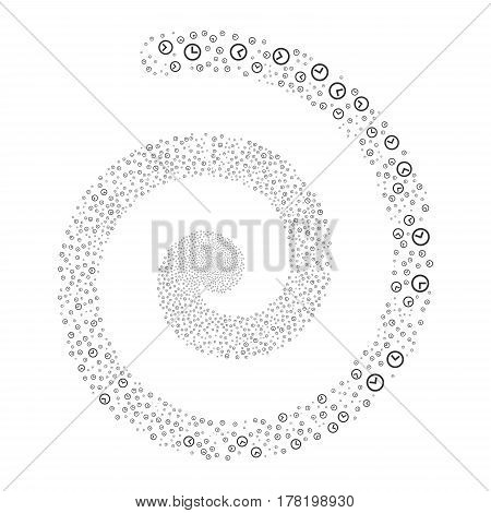 Clock fireworks swirling spiral. Vector illustration style is flat gray scattered symbols. Object whirl done from random pictograms.