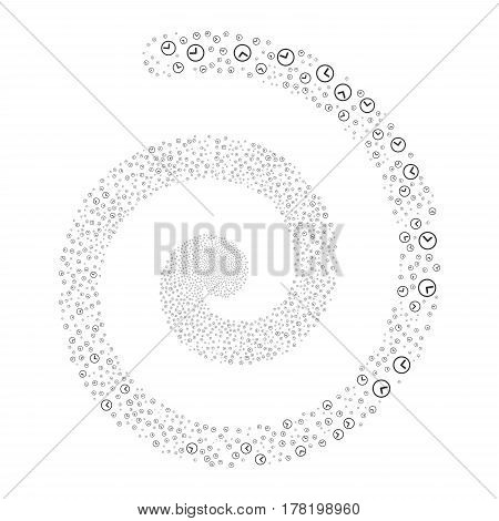 Clock fireworks whirlpool spiral. Vector illustration style is flat gray scattered symbols. Object swirl combined from random pictographs.
