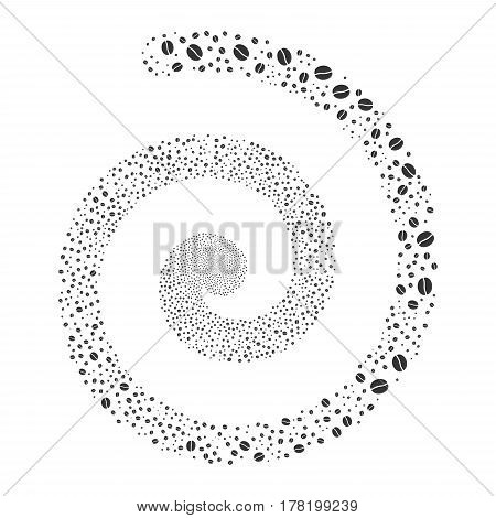 Coffee Bean fireworks whirlpool spiral. Vector illustration style is flat gray scattered symbols. Object vortex created from random pictograms.