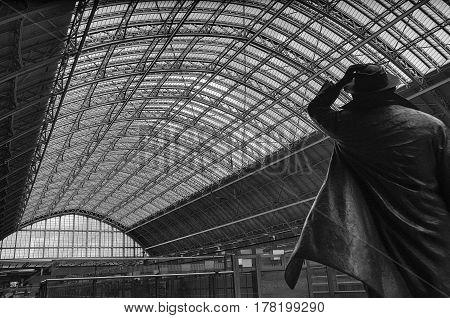 John Betjeman statue at St Pancras station, Eurostar Terminal, London