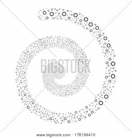Cogwheel fireworks vortex spiral. Vector illustration style is flat gray scattered symbols. Object swirl created from scattered symbols.