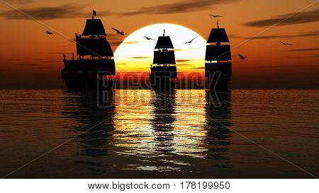 Sailboats Against A Beautiful Landscape