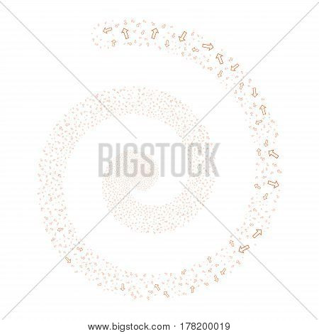 Arrow fireworks swirl spiral. Vector illustration style is flat orange scattered symbols. Object vortex organized from scattered pictograms.