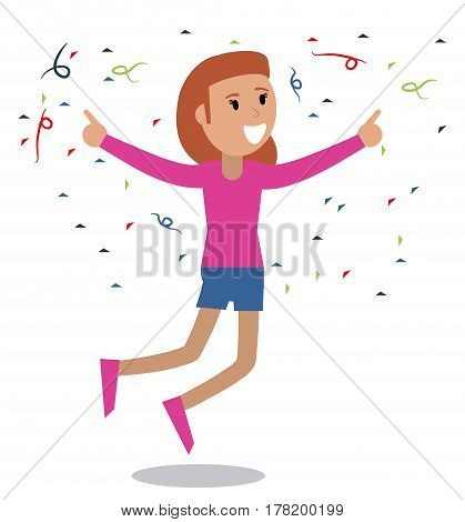 happy woman dancing and singing vector illustration eps 10