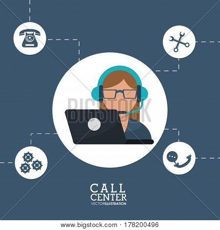 call center operator support helpline service vector illustration eps 10