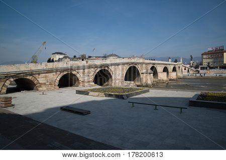 Skopje, Macedonia, march 20, 2017: Stone bridge, city center of Skopje, Macedonia
