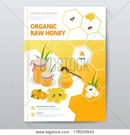 Organic raw honey designe brochure. Abstract composition. A4 brochure cover design of honey. Fancy title sheet model. Creative vector front page art. Banner form texture. Flyer fiber font.