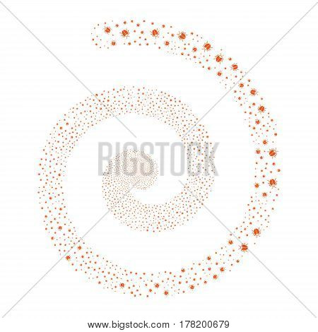 Bug fireworks whirlpool spiral. Vector illustration style is flat orange scattered symbols. Object whirlpool organized from random pictographs.
