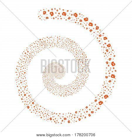 Call Center Operator fireworks burst spiral. Vector illustration style is flat orange scattered symbols. Object whirlpool constructed from random pictographs.