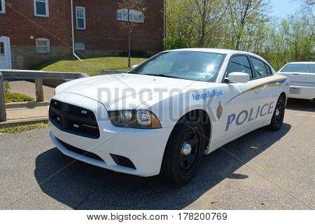 ANNAPOLIS ROYAL, NS, CANADA - MAY 21, 2016: Dodge Charger Police Car in Annapolis Royal, Nova Scotia, Canada. The historic core of Annapolis Royal was designated a National Historic Site of Canada in 1994.