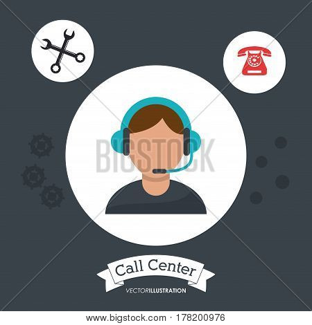call center man operator support helpline gears vector illustration eps 10