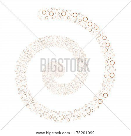 Circle Bubble fireworks swirling spiral. Vector illustration style is flat orange scattered symbols. Object helix combined from scattered pictographs.