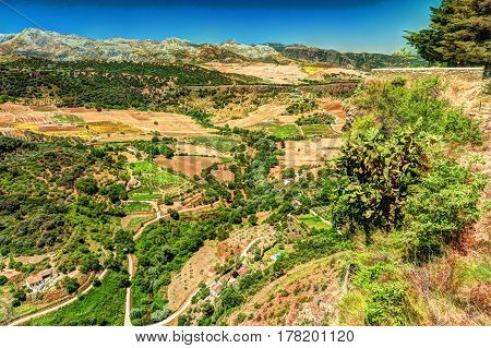 Flat lay, aerial top view of a landscape in Andalusia, Spain