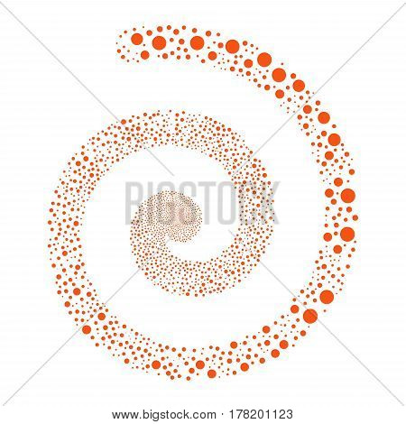 Circle fireworks burst spiral. Vector illustration style is flat orange scattered symbols. Object helix combined from random pictographs.