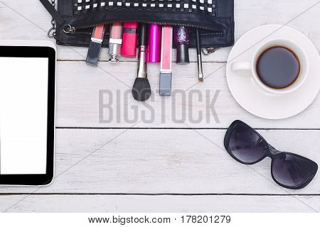 Fashion mockup with business lady accessories and electronic devices. flat lay