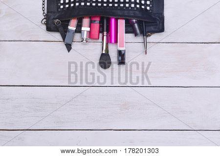 Fashion flat lay for bloggers social media. Makeup