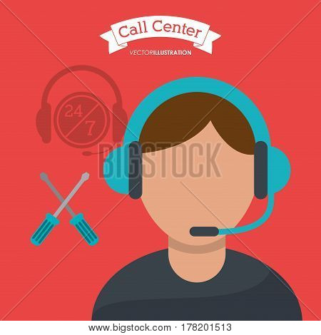 call center man operator technical help vector illustration eps 10