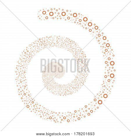 Cogwheel fireworks whirlpool spiral. Vector illustration style is flat orange scattered symbols. Object swirl created from scattered design elements.