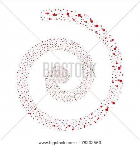 Arrow Pointer fireworks vortex spiral. Vector illustration style is flat red scattered symbols. Object twirl constructed from random icons.