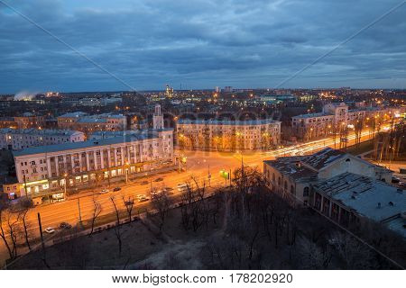 Evening Voronezh cityscape from rooftop. District of Voronezh synthetic rubber plant