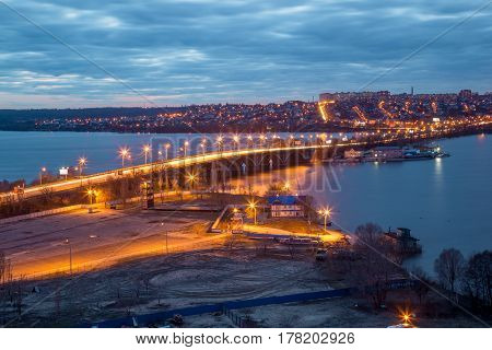 Evening Voronezh cityscape from rooftop. View of the bridge over the Voronezh Water Reservoir