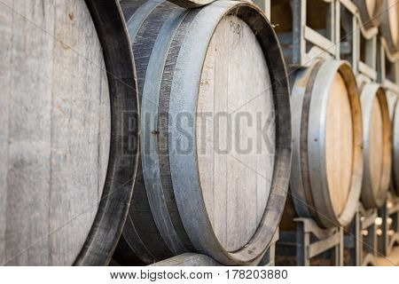 Racks of wooden wine barrels