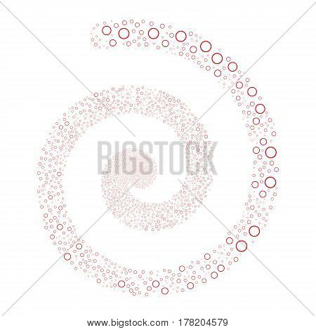 Circle Bubble fireworks whirlpool spiral. Vector illustration style is flat red scattered symbols. Object twirl organized from scattered pictograms.
