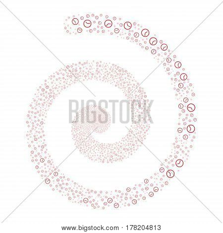 Clock fireworks burst spiral. Vector illustration style is flat red scattered symbols. Object swirling combined from scattered pictographs.