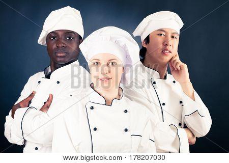 Studio shot of multi-ethnic group of cooks