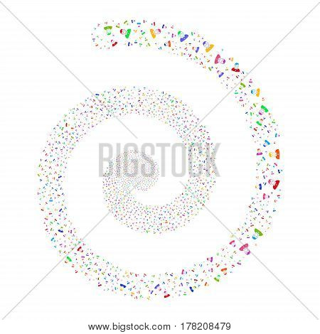 Boy fireworks whirl spiral. Vector illustration style is flat bright multicolored scattered symbols. Object whirl combined from random symbols.