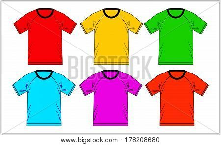 T Shirt Design Template Raglan Colorful, Vector.