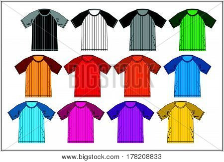 Design T shirt Raglan Combination Colorful, Vector