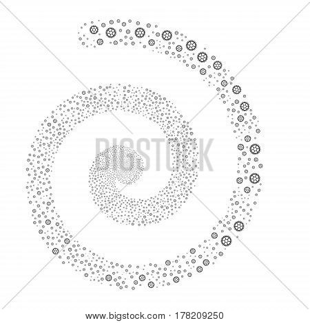 Clock Wheel fireworks whirlpool spiral. Vector illustration style is flat gray scattered symbols. Object whirlpool created from random pictograms.